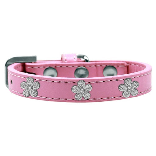 Mirage Pet Products Silver Flowers Widget Leather Designer Dog Collar Pink