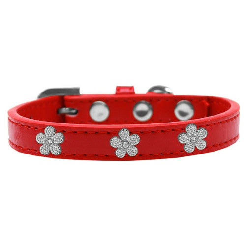 Mirage Pet Products Silver Flowers Widget Leather Designer Dog Collar Red