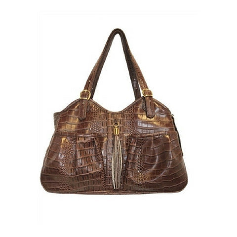 Metro Carrier — Brown Croco with Tassel