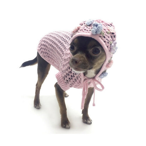 Oscar Newman Lacey Breezy Hand-Crochet Hoodie Designer Dog Sweater on Dog