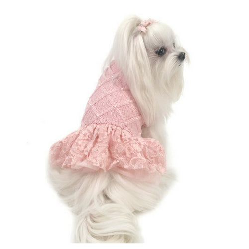 Oscar Newman Pearls of Paradise Ballet Pink Designer Dog Sweater on Dog