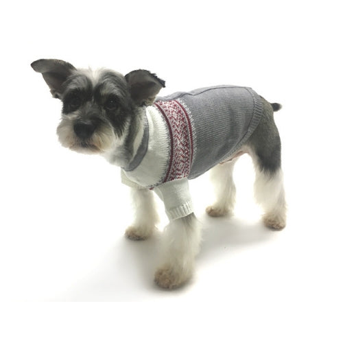 Oscar Newman Couture Prep School Jacquard Designer Dog Sweater on Dog