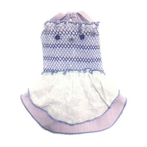 Oscar Newman Violet's Handsmocked Designer Dog Dress
