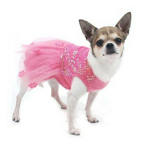 Oscar Newman Hotter Than You Pink Sequin Dress on Dog