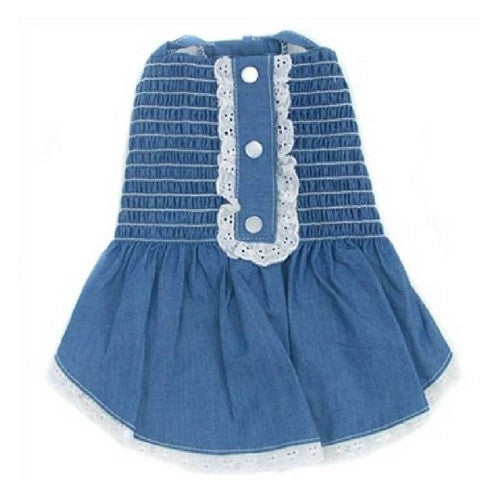 Oscar Newman Light Up My Sky Chambray Smocked Designer Dog Dress