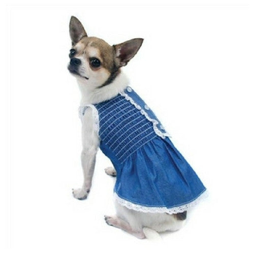 Oscar Newman Light Up My Sky Chambray Smocked Dress on Dog