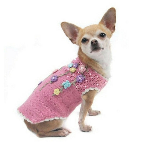 Oscar Newman Couture Floral Di-vine Designer Dog Sweater on Dog