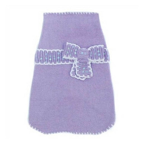 Oscar Newman Couture Lavender Take A Bow Designer Dog Sweater