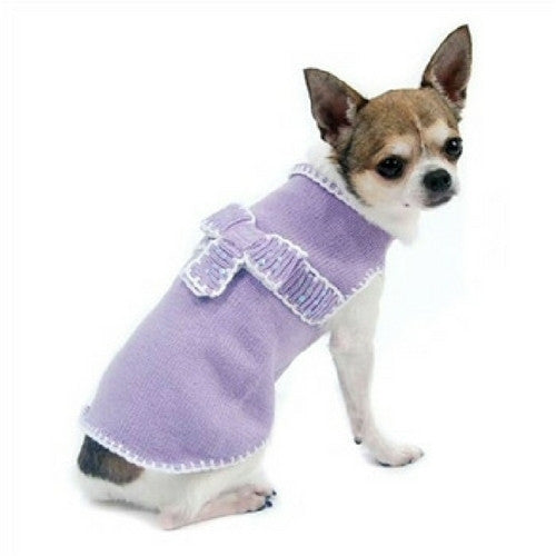 Oscar Newman Couture Lavender Take A Bow Designer Dog Sweater on Dog