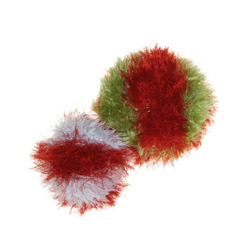 OoMaLoo Funky Fur Striped Holiday Squeaky Ball Plush Dog Toy All Colors