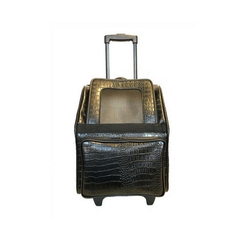 PETOTE Rio Roller Bag Dog Travel Carrier — Black Croco Faux Leather Front View