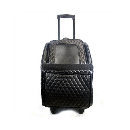 PETOTE Rio Roller Bag Dog Travel Carrier — Black Quilted Faux Leather Front View