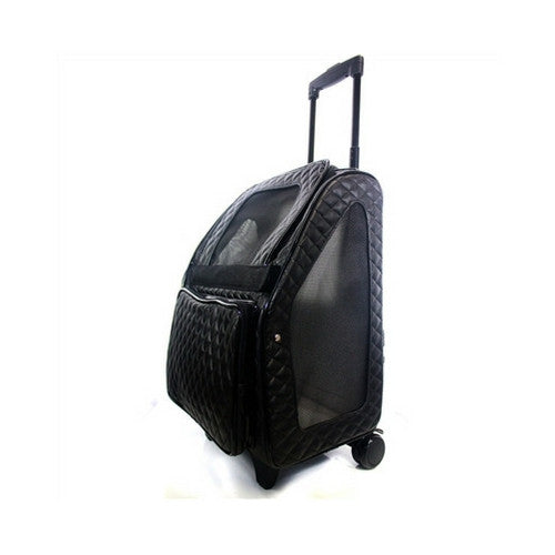 PETOTE Rio Roller Bag Dog Travel Carrier — Black Quilted Faux Leather Side View