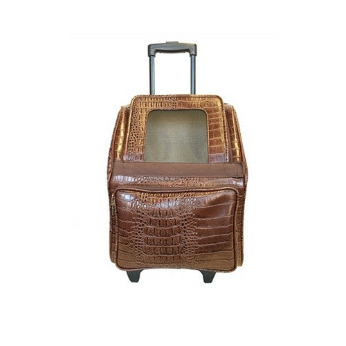 PETOTE Rio Roller Bag Dog Travel Carrier — Brown Croco Faux Leather Front View