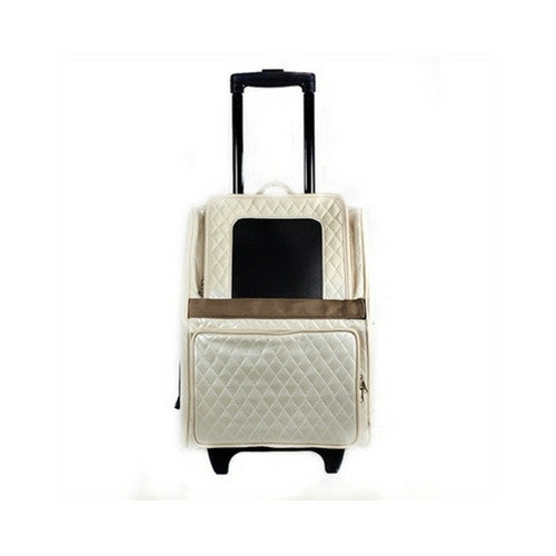 PETOTE Rio Roller Bag Dog Travel Carrier — Ivory Quilted Faux Leather Front View