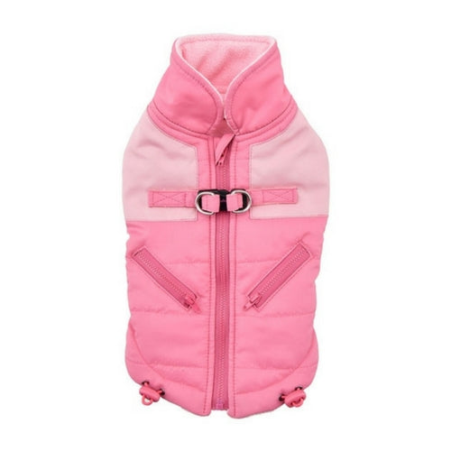 Pinkaholic New York Tintin Winter Dog Harness Coat Indian Pink Back View