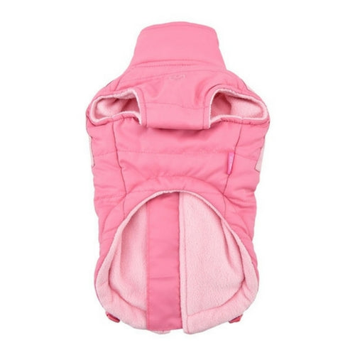 Pinkaholic New York Tintin Winter Dog Harness Coat Indian Pink Front View