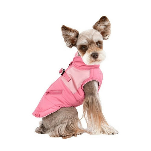 Pinkaholic New York Tintin Winter Dog Harness Coat Indian Pink on Dog