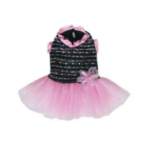 Pooch Outfitters Caroline Chic Black and Pink Party Dog Dress