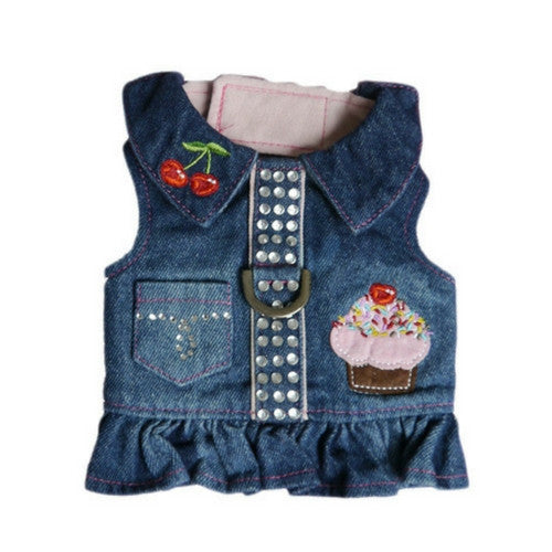 Pooch Outfitters Cupcake Denim Fabric Velcro Closure Dog Harness