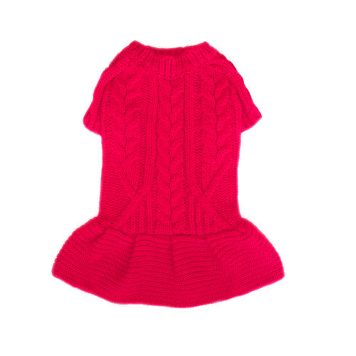 Pooch Outfitters Georgia Red Cable Knit Acrylic Dog Sweater Dress