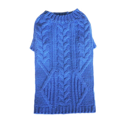 Pooch Outfitters Georgia Blue Classic Cable Knit Acrylic Dog Sweater