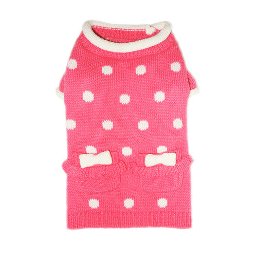 Pooch Outfitters Lala Girly Pink Polka Dot Acrylic Dog Sweater