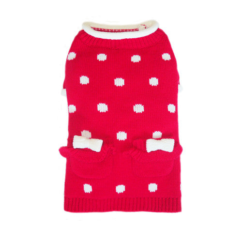 Pooch Outfitters Lala Girly Red Polka Dot Acrylic Dog Sweater