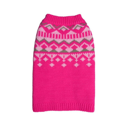 Pooch Outfitters Mason Pink Modern Geometric Design Acrylic Dog Sweater