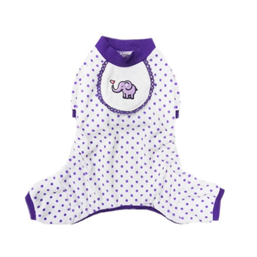 Pooch Outfitters Adorable Purple Elephant Cotton Four Legged Dog Pajamas