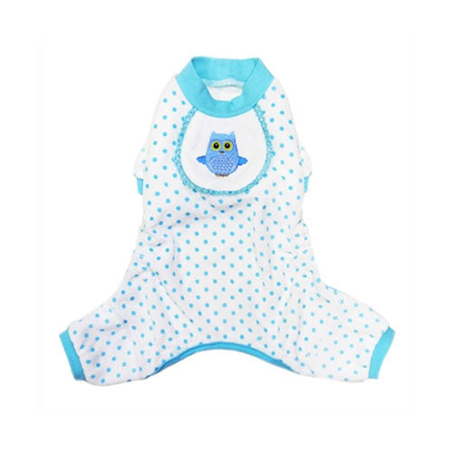 Pooch Outfitters Adorable Blue Owl Cotton Four Legged Dog Pajamas