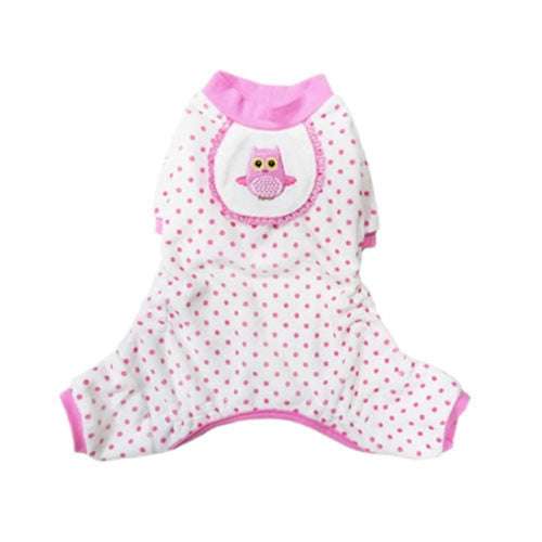 Pooch Outfitters Adorable Pink Owl Cotton Four Legged Dog Pajamas