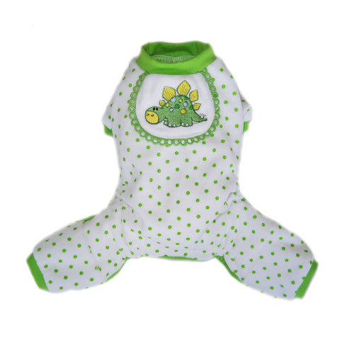 Pooch Outfitters Adorable Dino Cotton Four Legged Dog Pajamas