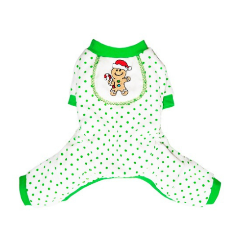 Pooch Outfitters Gingerbaby Cotton Four Legged Holiday Dog Pajamas