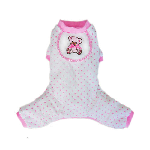Pooch Outfitters Adorable Pink Teddy Bear Cotton Four Legged Dog Pajamas