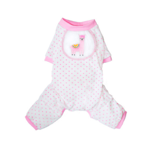 Pooch Outfitters Adorable Llama Cotton Four Legged Dog Pajamas — Pink