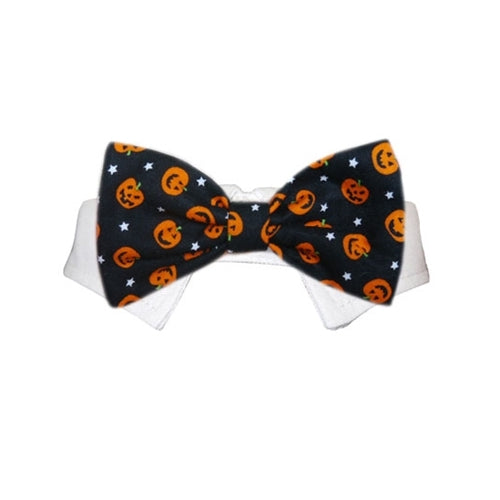 Pooch Outfitters Pumpkin Bow Tie Shirt Collar with Halloween Dog Tie