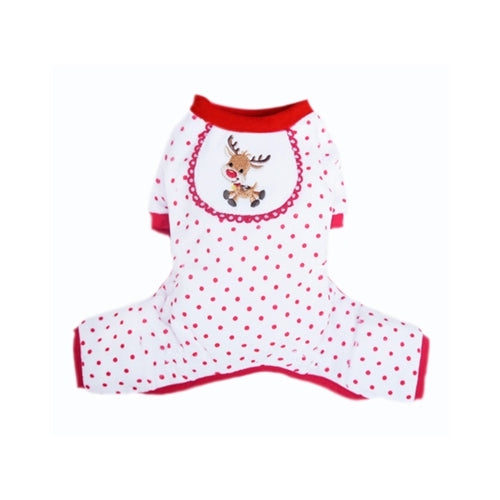 Pooch Outfitters Holiday Reindeer Cotton Four Legged Dog Pajamas