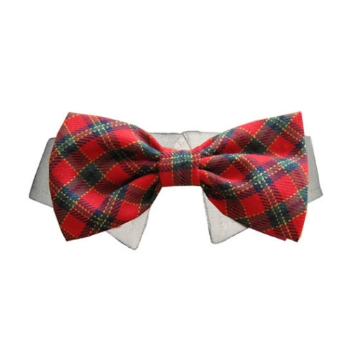 Pooch Outfitters Shirt Collar with Holiday Christmas Plaid Bow Dog Tie