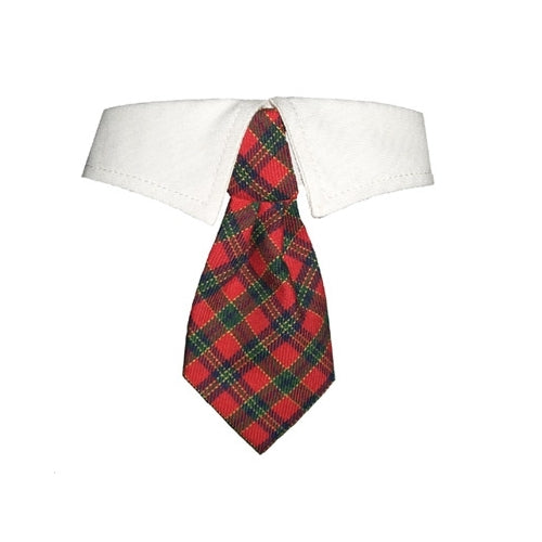 Pooch Outfitters Christmas Plaid Shirt Collar with Holiday Dog Tie