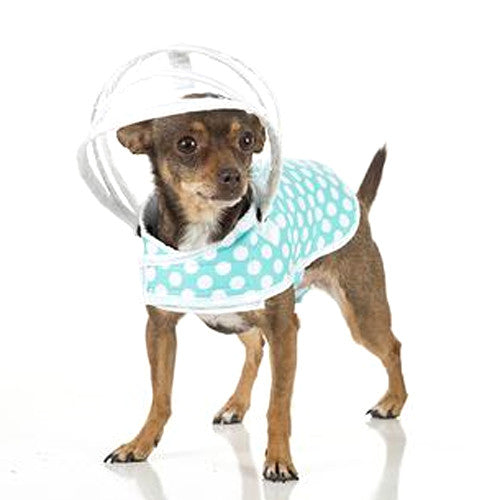 Push Pushi Puddle Jumper Dog Raincoat — Mint + White Polka Dots