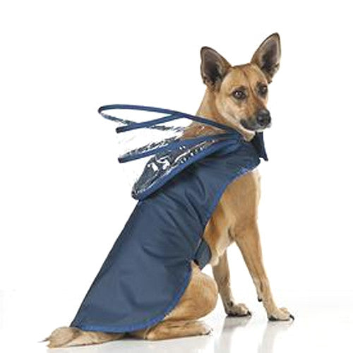 Push Pushi Rainbow Solid Color Dog Raincoat — Navy Blue