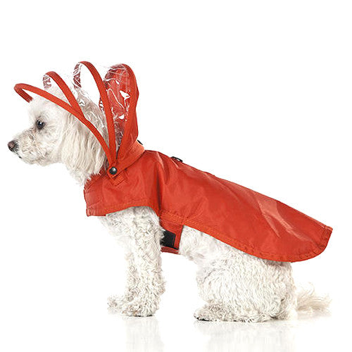 Push Pushi Rainbow Solid Color Dog Raincoat — Red