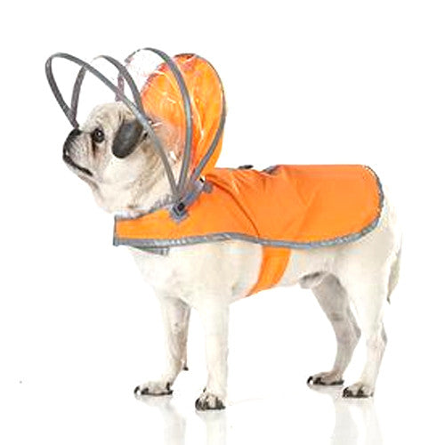 Push Pushi Lightining Bright Reflective Dog Raincoat — Safety Orange
