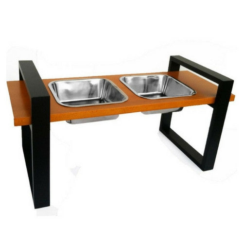 Pets Stop Wood Austin Mod Diner Elevated Dog Feeder Bowls Black