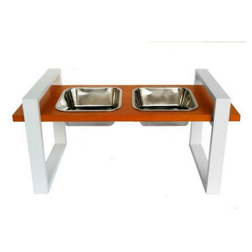 Pets Stop Wood Austin Mod Diner Elevated Dog Feeder Bowls White