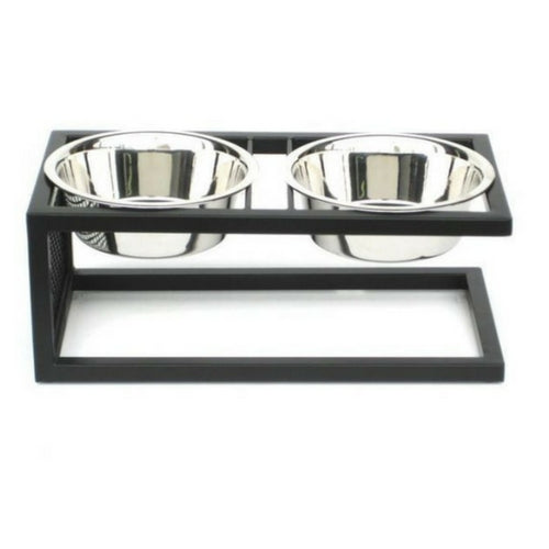 Pets Stop Cantilever Double Diner Elevated Dog Feeder Bowl Front View