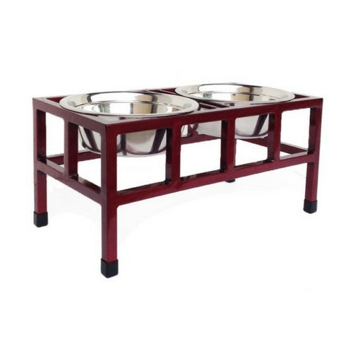 Pets Stop Four Squared Double Diner Elevated Dog Feeder Bowl Cherry