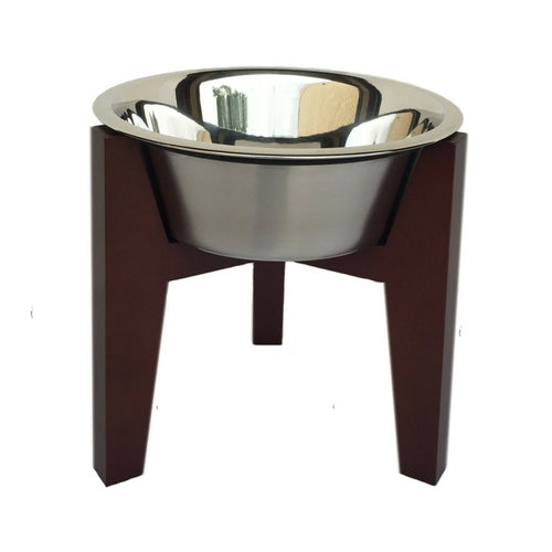 Pets Stop Walnut Henry Single Diner Elevated Dog Bowl