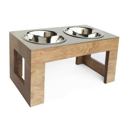 Pets Stop Hardwood Indus Double Diner Elevated Dog Feeder Bowls Natural